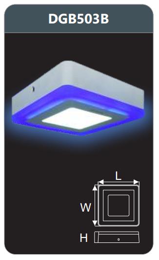 Đèn led panel màu gắn nổi 3w DGB503B