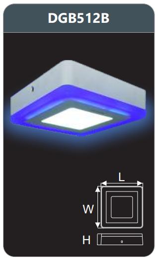 Đèn led panel màu gắn nổi 12w DGB512B