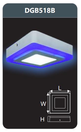 Đèn led panel màu gắn nổi 18w DGB518B