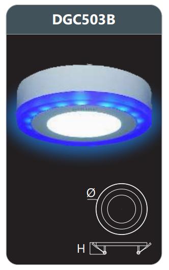Đèn led panel màu gắn nổi 3w DGC503B