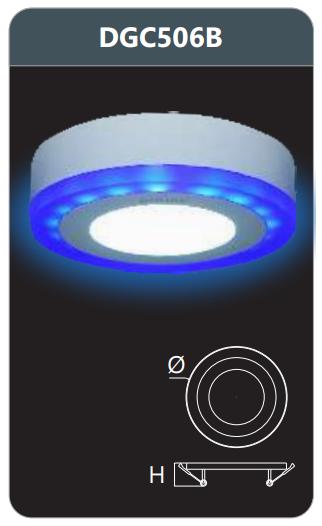 Đèn led panel màu gắn nổi 6w DGC506B