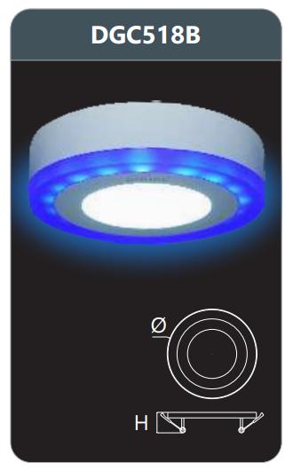 Đèn led panel màu gắn nổi 18w DGC518B