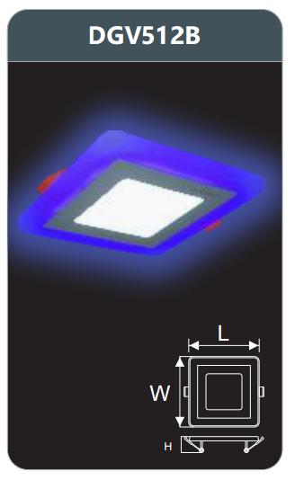 Đèn led panel màu âm trần 12w DGV512B