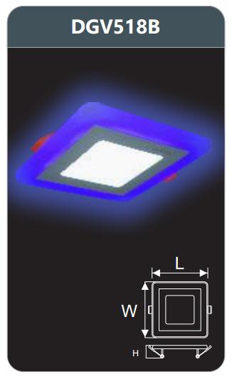 Đèn led panel màu âm trần 18w DGV518B