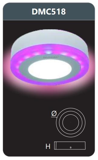 Đèn led panel đổi màu gắn nổi 18w DMC518