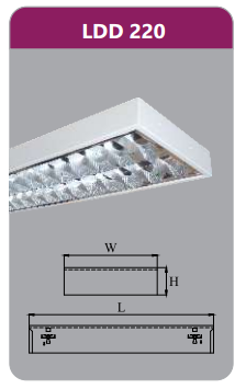 Máng đèn phản quang gắn nổi 2x9w LDD220