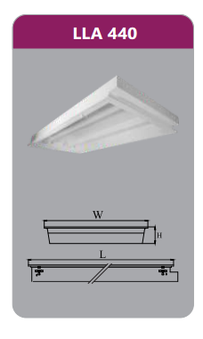 Máng đèn tán quang âm trần 4x18w LLA440