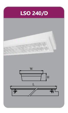 Máng đèn tán quang âm trần phòng sạch 2x18w LSO240/D