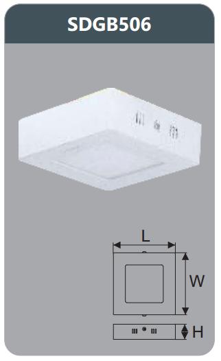 Đèn led panel gắn nổi vuông 6w SDGB506