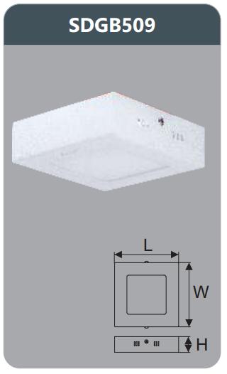 Đèn led panel gắn nổi vuông 9w SDGB509