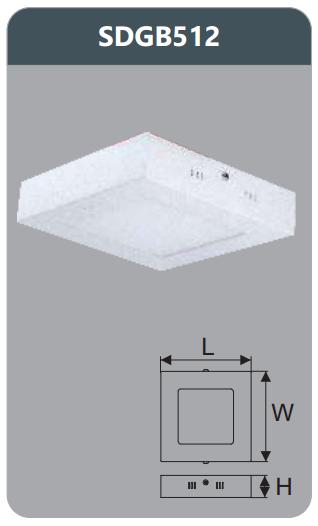 Đèn led panel gắn nổi vuông 12w SDGB512