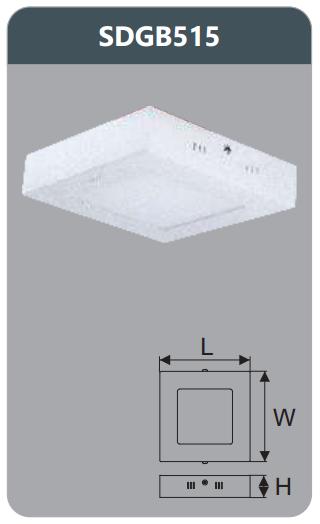 Đèn led panel gắn nổi vuông 15w SDGB515
