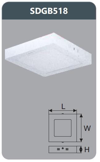 Đèn led panel gắn nổi vuông 18w SDGB518