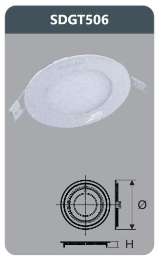Đèn led panel âm trần tròn 6w SDGT506