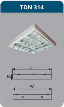 Máng đèn phản quang gắn nổi 3x14w TDN314