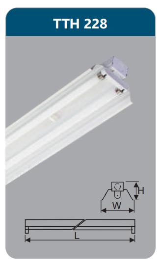 Đèn công nghiệp sơn tĩnh điện2x28w TTH228