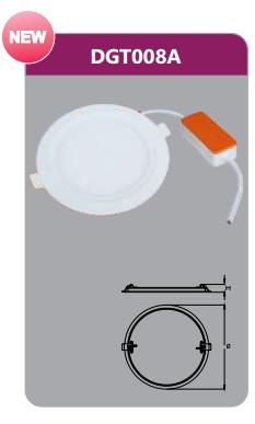 Đèn led panel âm trần tròn 8w DGT008A