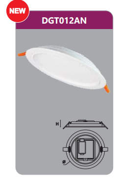 Đèn led panel âm trần tròn 12w DGT012AN