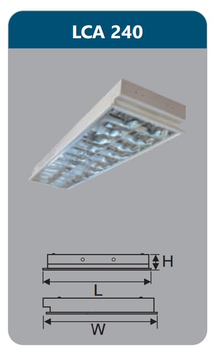 Máng đèn phản quang âm trần 2x18w LCA240