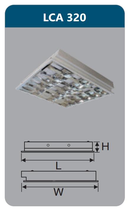 Máng đèn phản quang âm trần 3x9w LCA320