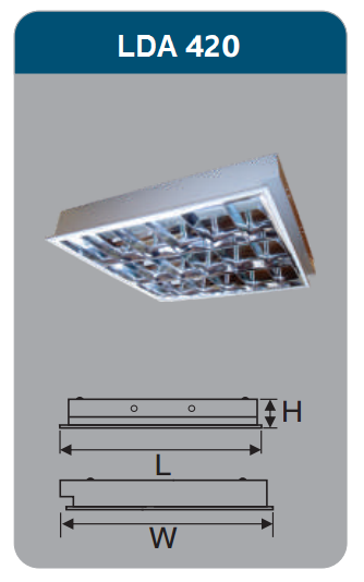 Máng đèn phản quang âm trần 4x9w LDA420