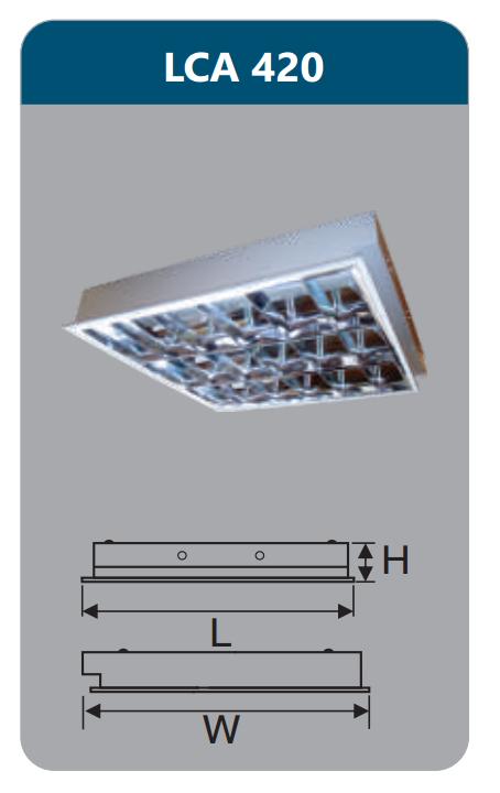 Máng đèn phản quang âm trần 4x9w LCA420