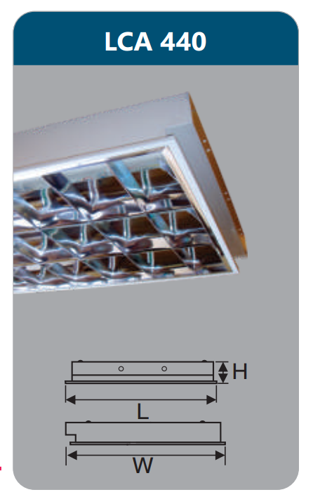 Máng đèn phản quang âm trần 4x18w LCA440