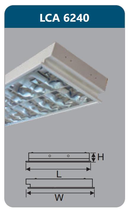 Máng đèn phản quang âm trần 2x18w LCA6240