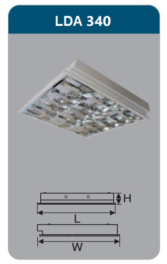 Máng đèn phản quang âm trần 3x18w LDA340