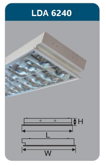 Máng đèn phản quang âm trần 2x18w LDA6240