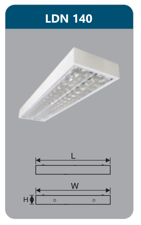 Máng đèn phản quang gắn nổi 1x18w LDN140