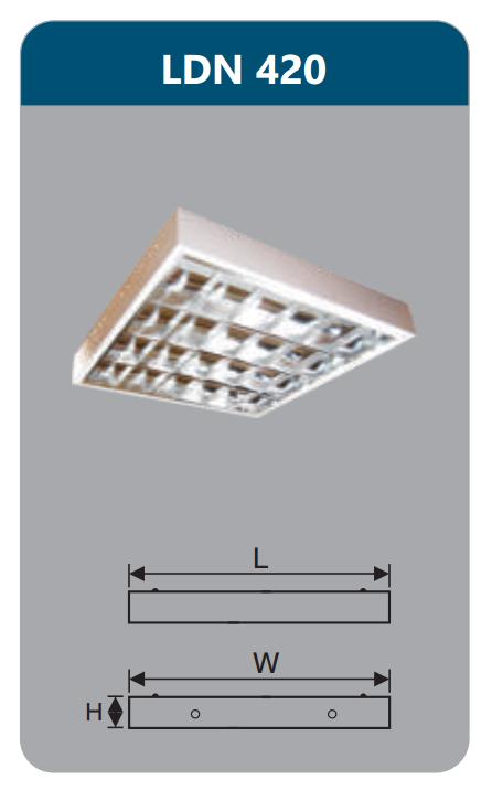 Máng đèn phản quang gắn nổi 4x9w LDN420