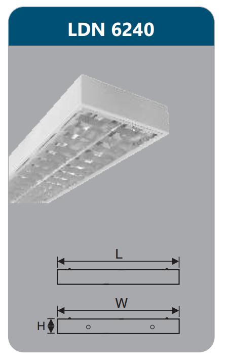 Máng đèn phản quang gắn nổi 2x18w LDN6240