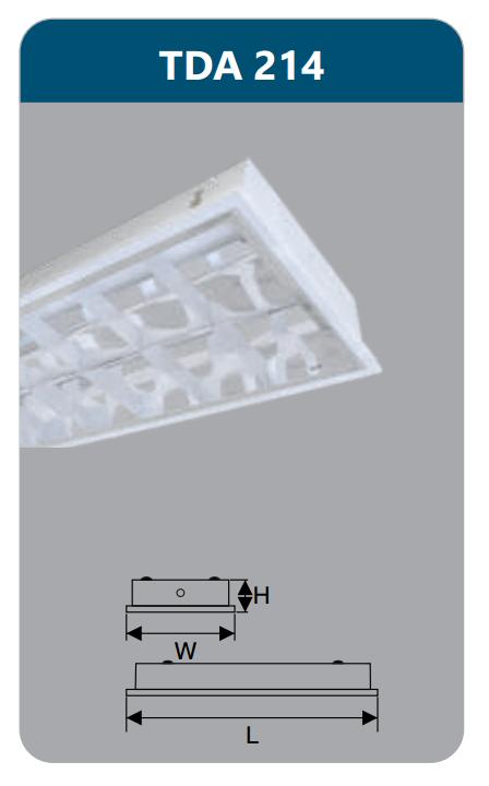 Máng đèn phản quang âm trần T5 2x14w TDA214