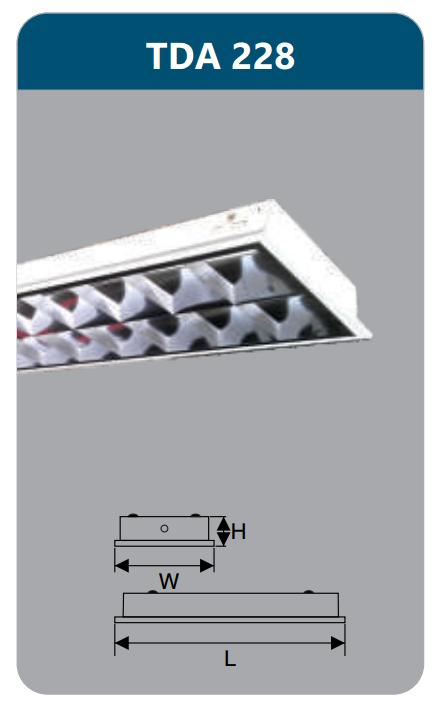 Máng đèn phản quang âm trần T5 2x28w TDA228