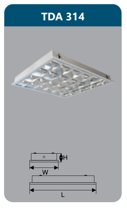 Máng đèn phản quang âm trần T5 3x14w TDA314