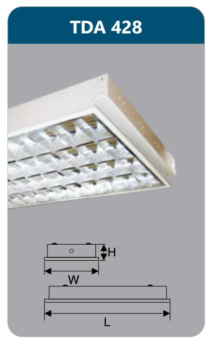 Máng đèn phản quang âm trần T5 4x28w TDA428