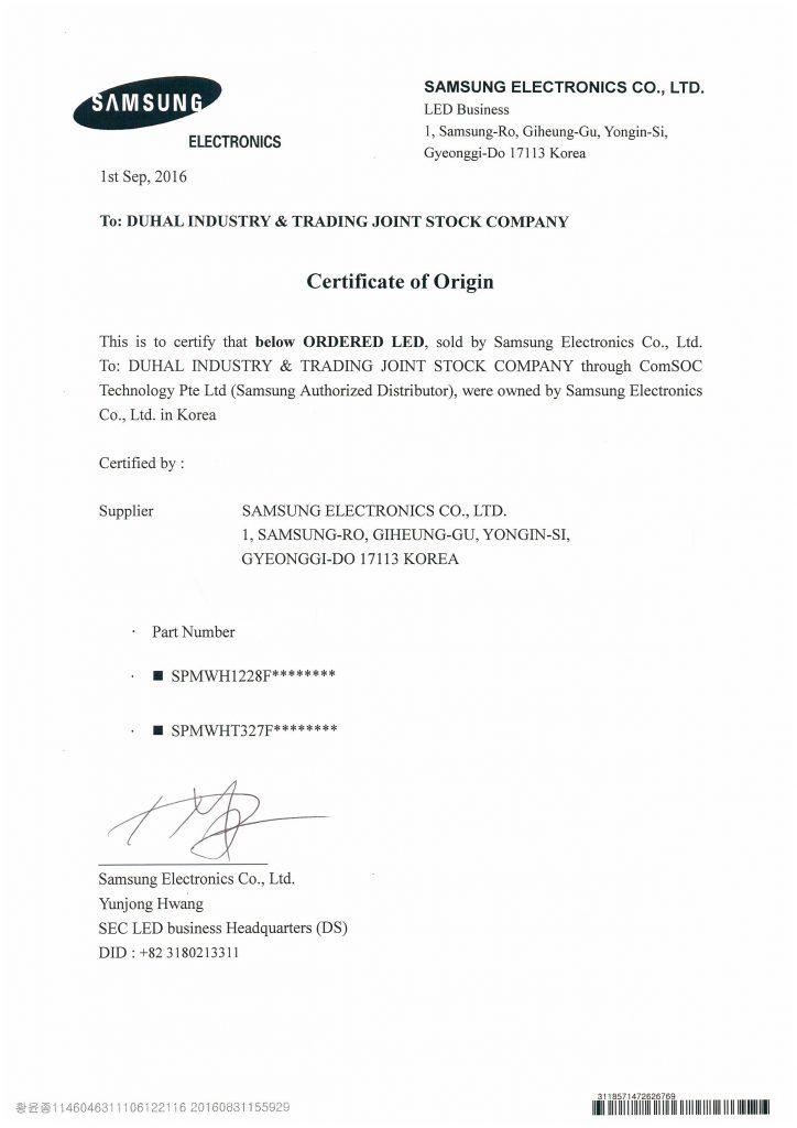 Certificate of Origin for Duhal 160901 - 복사본
