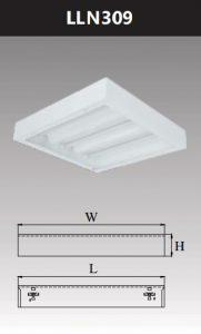 Máng đèn led tán quang gắn nổi chụp mica 3x9w LLN309