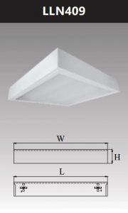 Máng đèn led tán quang gắn nổi chụp mica 4x9w LLN409
