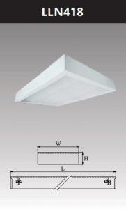 Máng đèn led tán quang gắn nổi chụp mica 4x18w LLN418