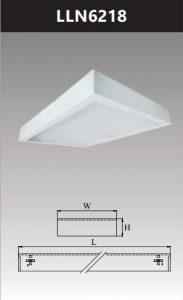 Máng đèn led tán quang gắn nổi chụp mica 2x18wLLN6218
