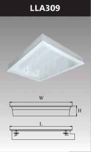 Máng đèn led tán quang âm trần chụp mica 3x9w LLA309