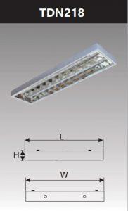 Máng đèn phản quang gắn nổi 2x18w TDN218