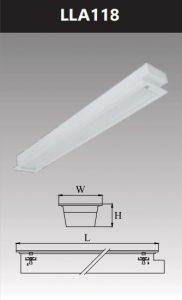 Máng đèn led tán quang âm trần chụp mica 1x18w LLA118
