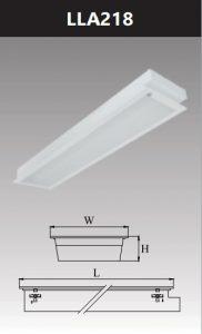 Máng đèn led tán quang âm trần chụp mica 2x18w LLA218