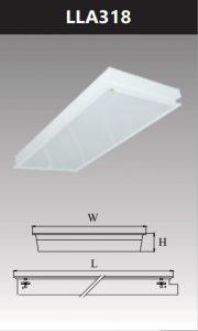Máng đèn led tán quang âm trần chụp mica 3x18w LLA318