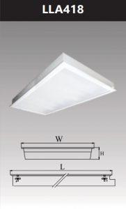 Máng đèn led tán quang âm trần chụp mica 4x18w LLA418