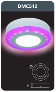 Đèn led panel đổi màu gắn nổi 12w DMC512
