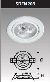Đèn âm trần led chiếu điểm 3w SDFN203